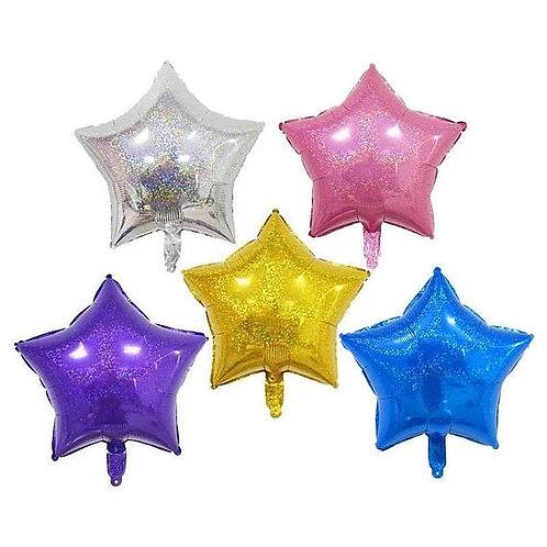 Ballon mylar géant étoile holographique 45 cm hélium argent rose violet bleu