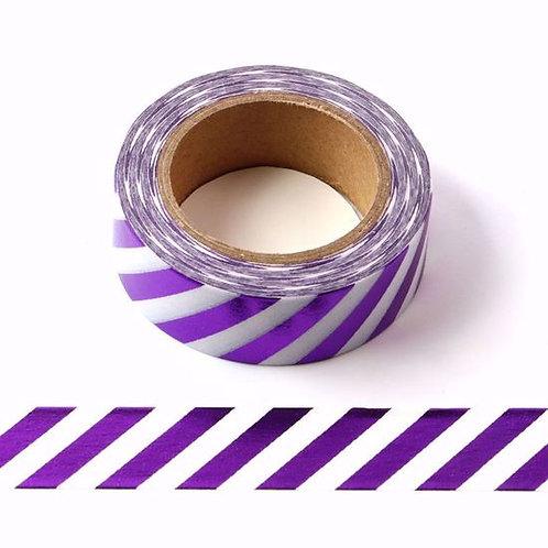 F101 - Masking tape métallique 15mm foil blanc rayures violettes