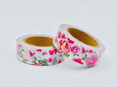 W336-  Masking tape motif floral rose design  15mm