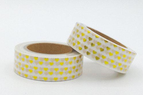 F011 - Masking tape Foil coeurs dorés