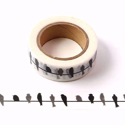 Masking tape oiseaux noirs