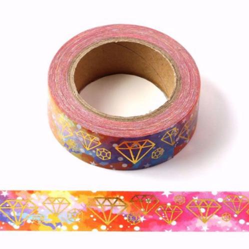 Masking tape metallique diamants origami or