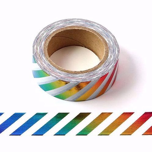 F090- Masking tape métallique 15mm foil rayures arc en ciel multicolores