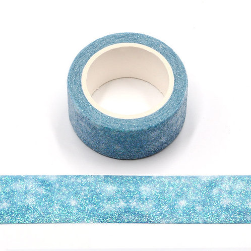 Paillettes glitter bleu clair étoiles blanches