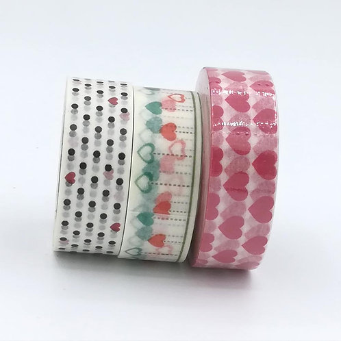 Masking tape coeurs rouges noir black RED HEARTS WASHI TAPE