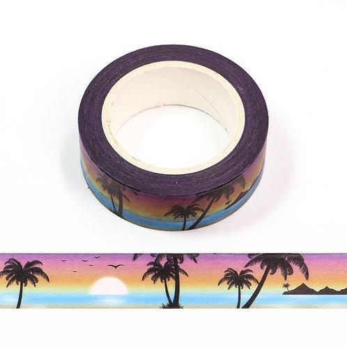 Masking tape 15 mm motif plage coucher de soleil