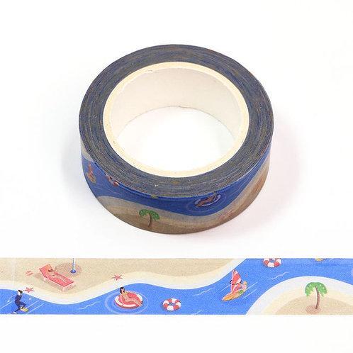 Masking tape motif plage et palmier  15mm x 10m