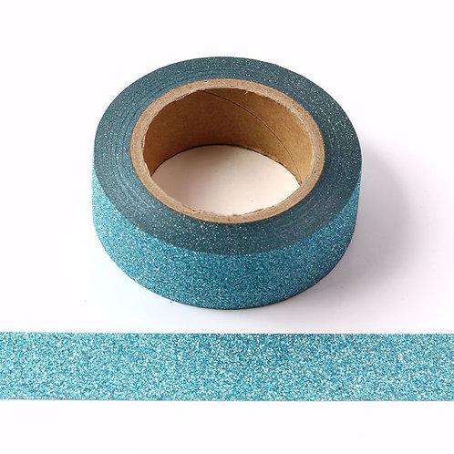 Masking tape paillettes bleu lagon clair glitter