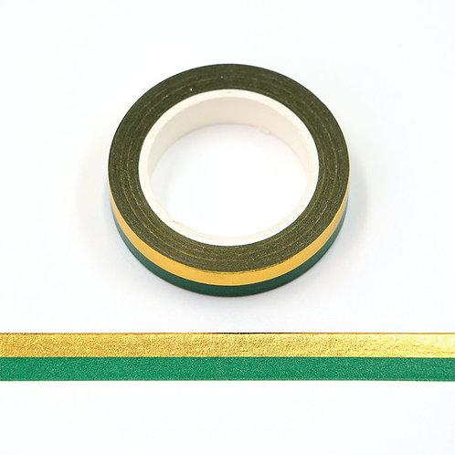 Masking tape  métallique 15 mm motif rayures vertes et or