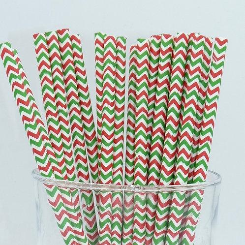 25 pailles papier chevrons rouge et vert  anniversaire candy
