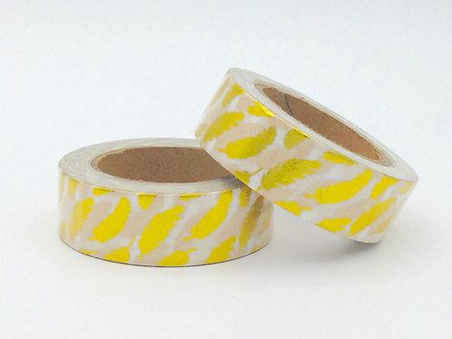 F073- Masking tape foil blanc plumes dorées