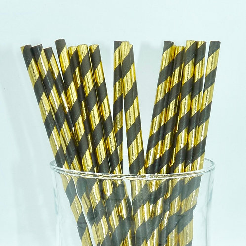 25 pailles papier noir rayures dorée métallique