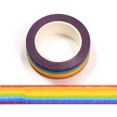 Masking tape paillettes rayures arc en ciel 15mm x 5m