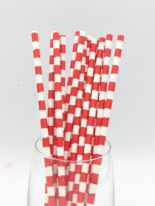 25 pailles papier blanches rayures rouges