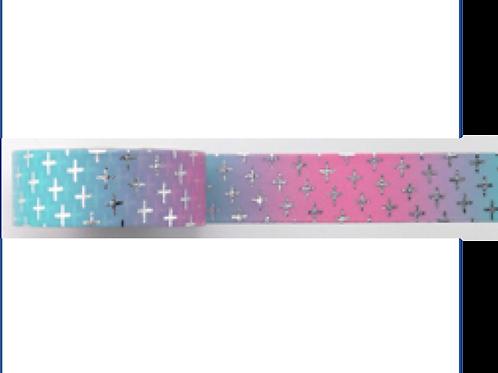 F127 - Masking tape foil rose bleu croix argent