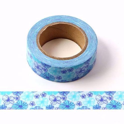W469 - Masking tape  10m motif floral bleu