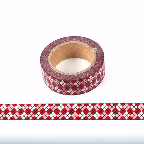 Masking tape grille motif jacquard rouge 15mm x 10m