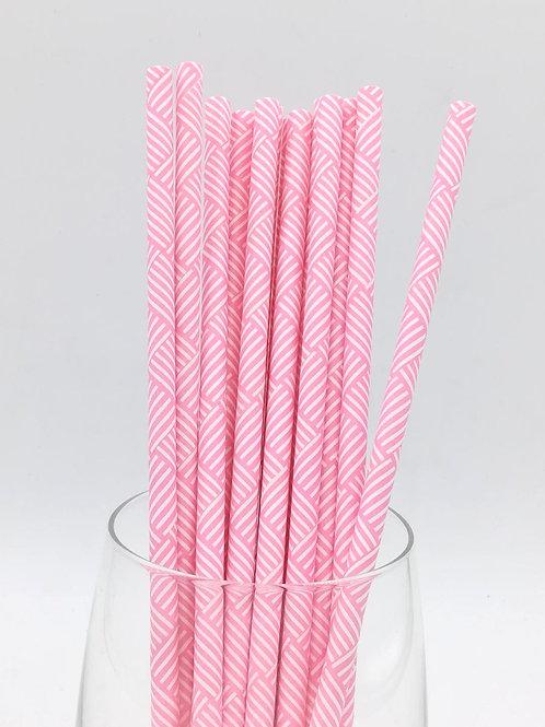25 pailles papier roses et blanches