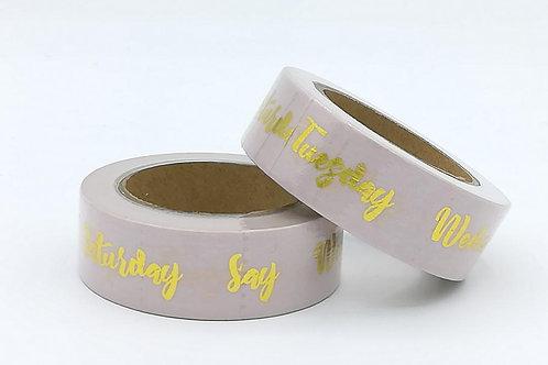 F106 - Masking tape foil rose pâle dates de la semaine dorées