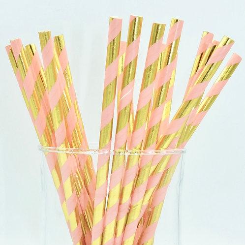 25 pailles papier corail rayures dorée métallique anniversaire