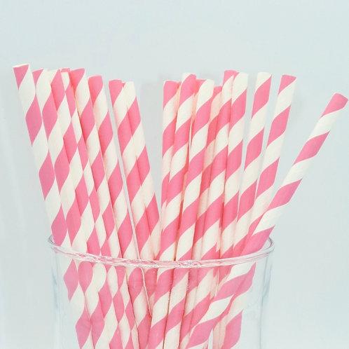 25 pailles papier rayure rose  anniversaire candy