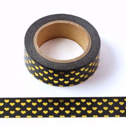 F024- Masking Tape métallique 15mm  Noir coeurss dorés