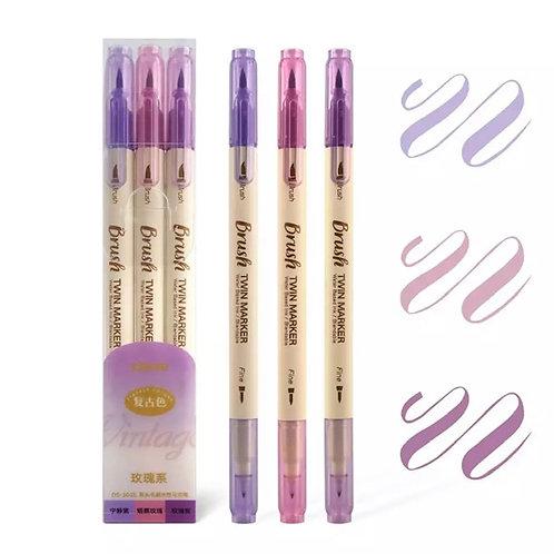 3 stylos brosse brush et pointe fine couleur aquarelle parfait pour lettering, b