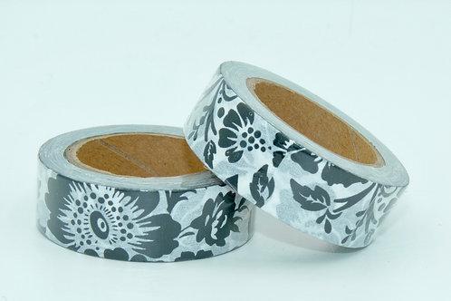 W292 - Masking tape motif floral noir