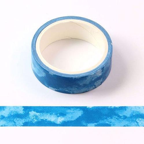 W456 - Masking tape  5m bleu motif aquarelle