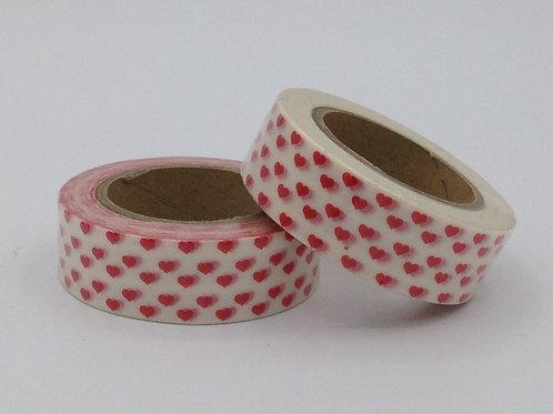 W004 - Masking tape blanc coeurs rouges