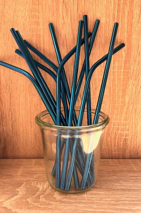 4 Pailles inox Bleu 21 cm, courbées ou droites, zéro déchet