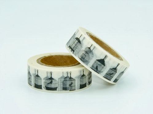 W223 - Masking tape Cage à oiseaux N&B