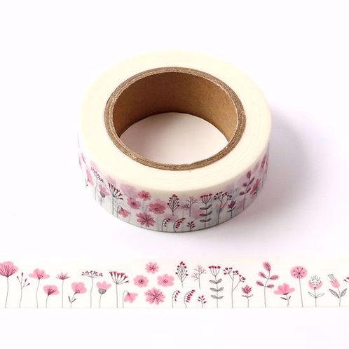 W421 - Masking tape motif floral aquarelle