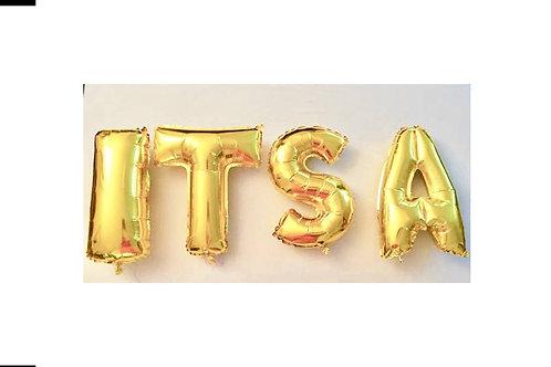 Ballons bannière IT'S A GIRL Mylar dorée or suspension naissance babyshower