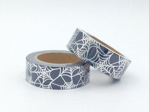 F076- Masking tape foil noir toile d'araignée argentée