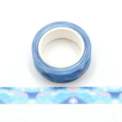 Masking tape paillettes Aurores boréales bleues  glitter  G067