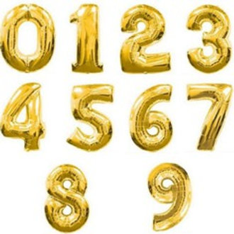 Ballon chiffre mylar or dorée  90 cm