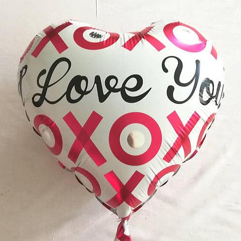 Ballon mylar coeur blanc xoxo taille 45 cm fiancailles mariage