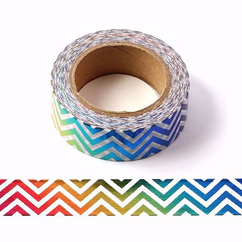 Masking tape foil zig zag arc en ciel multicolores 15mm x 10m