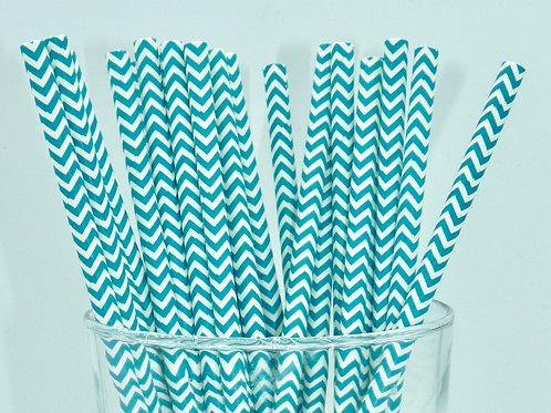 25 pailles papier chevrons bleus  anniversaire candy