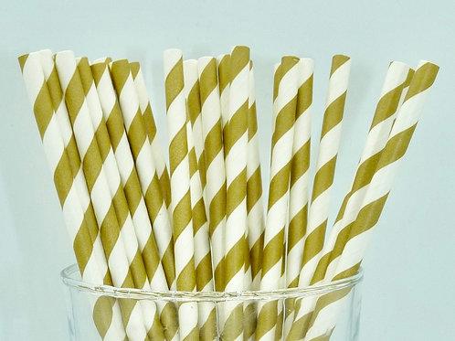 25 pailles papier  rayure dorée
