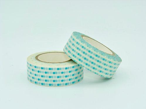 W179 - Masking tape blanc points bleus turquoise