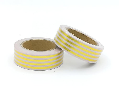 F107-  Masking tape foil  rose rayures dorées planner I Pink stripes washi