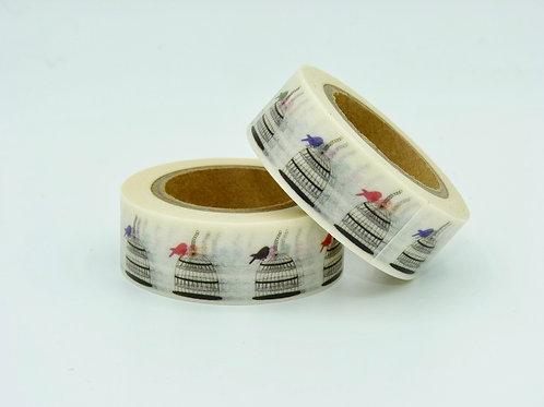 W224 - Masking tape Cage + oiseaux colorés