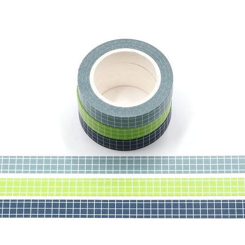 W504 - 3 rouleaux Masking tape 10m grille planner bleu vert