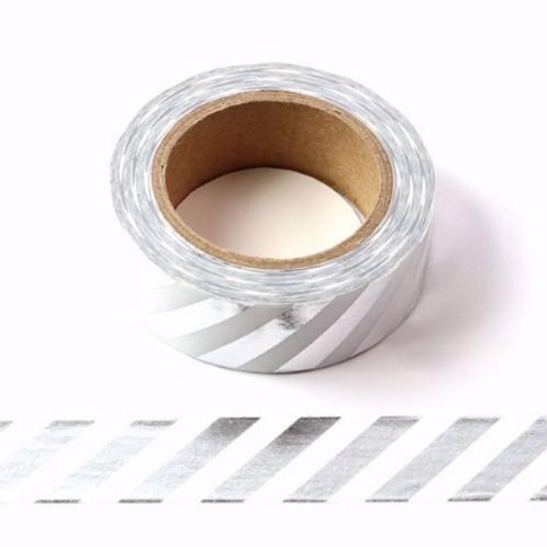 F028 - Masking tape foil métallique 15mm blanc rayures argentées