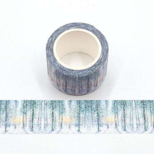 Masking tape paillettes forêt glitter 20mm x 5m
