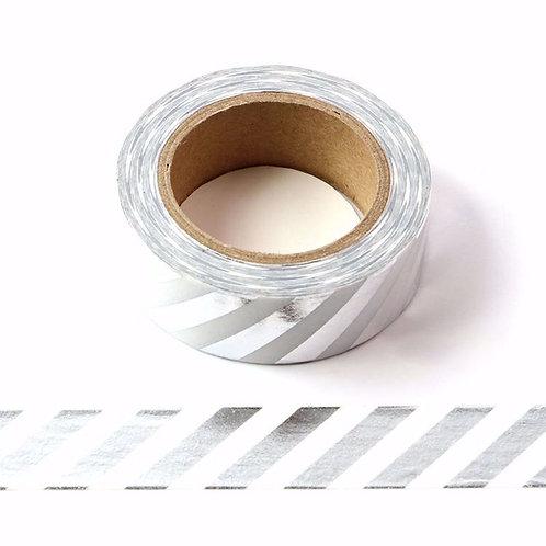 Masking tape foil blanc rayures argentées métalliques 15mm x 10m