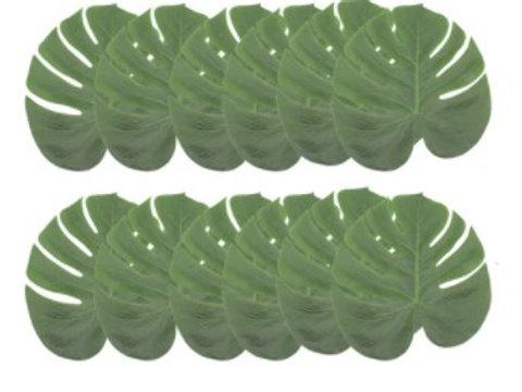 12 feuilles monsteria pour décoration table de réception ou arche de ballons