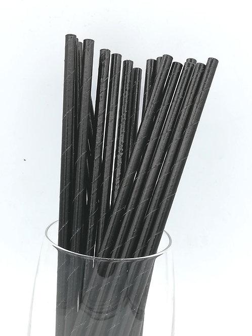 25 pailles papier noires
